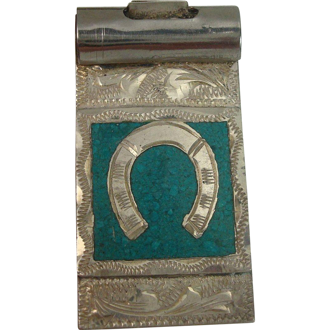 Chip Turquoise Horse Shoe Sterling Money Clip