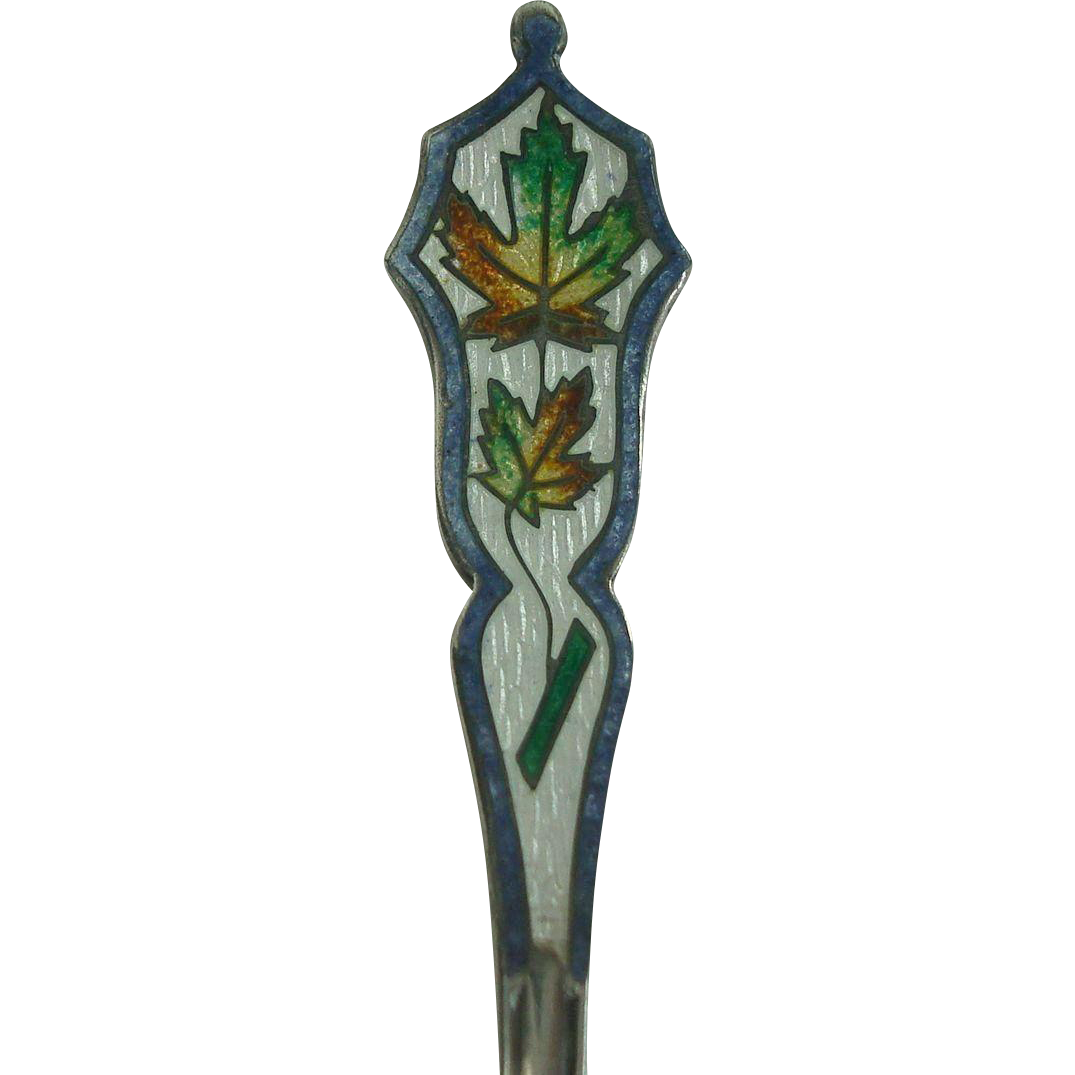 Calgary Canada Enameled Maple Leaf Demitasse Souvenir Spoon