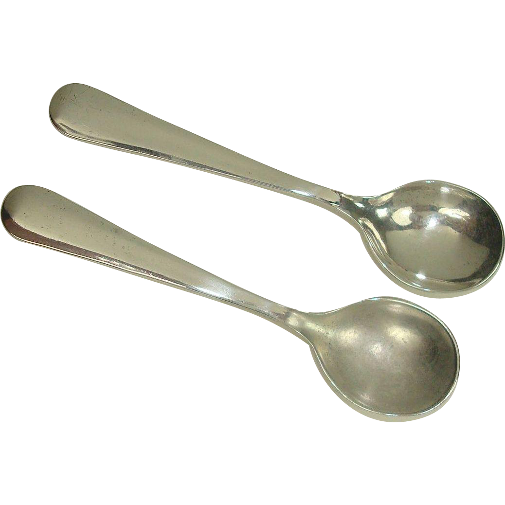 Pair Sterling Reverse tipt Salt Spoons