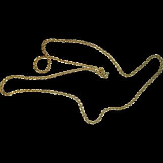 "Danecraft Vermeil Gold over Sterling Rope Necklace 24"""