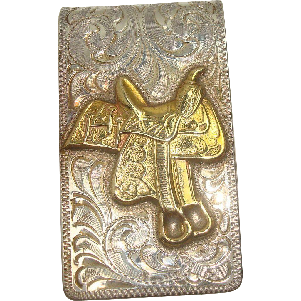 Heavy Sterling Acanthus Saddle Western Money Clip