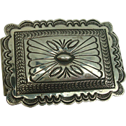 Sterling Concho Style Money Clip Signed A Blackgoat