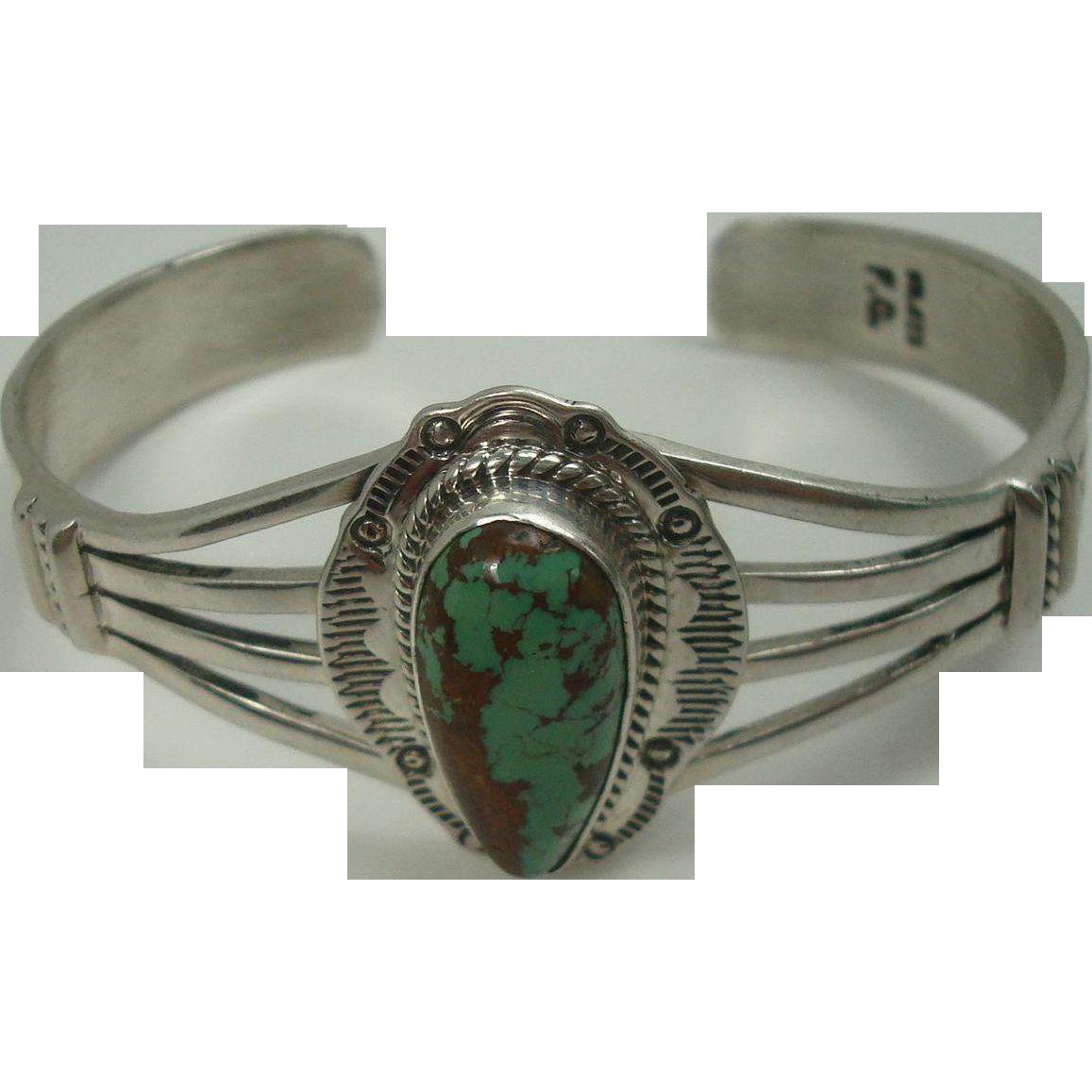 Signed Zuni Green Turquoise Cuff Bracelet