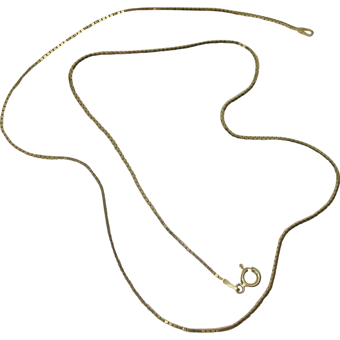 Italian Vermeil Gold over Sterling Box Chain Necklace 20""