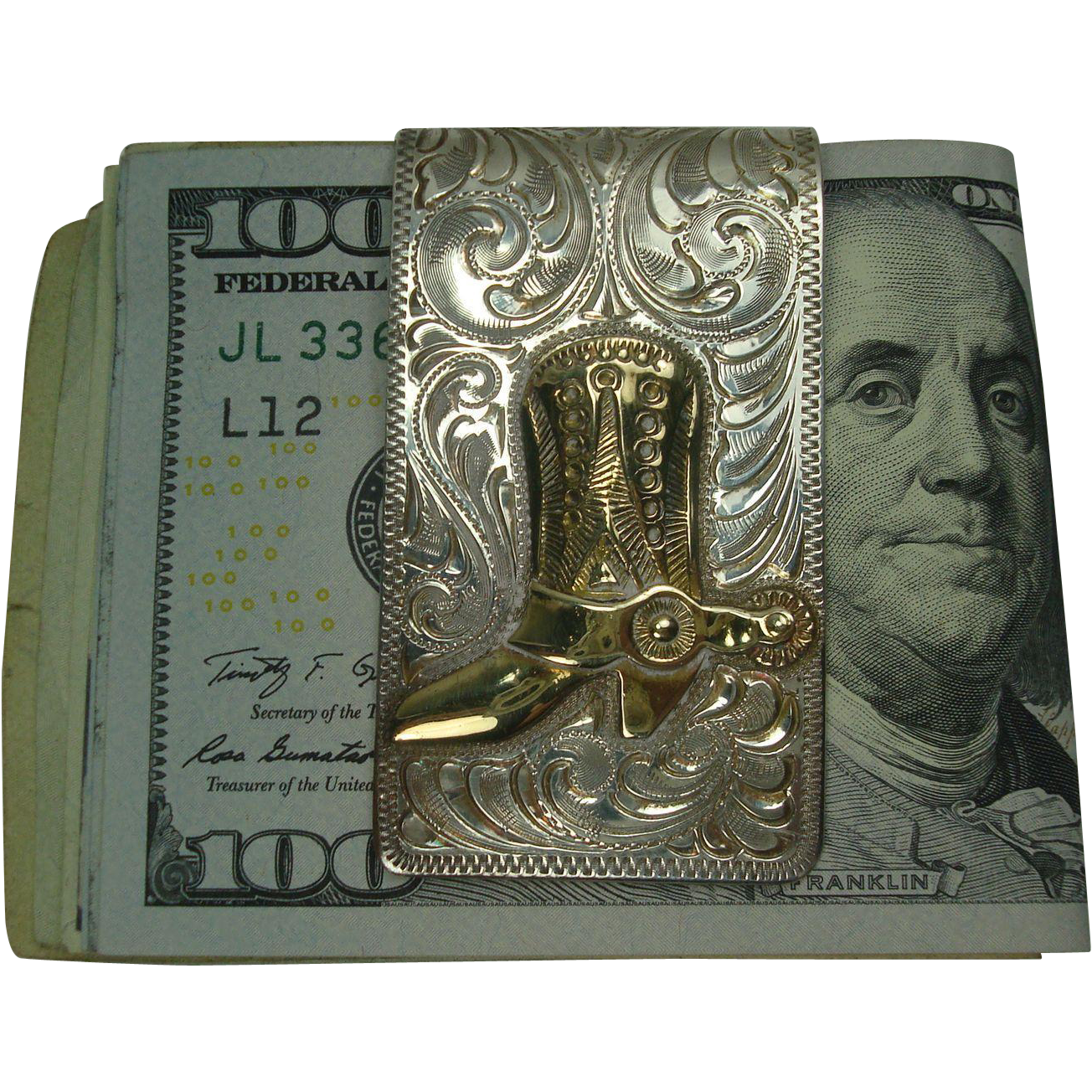 Heavy Sterling Cowboy Boot and Spurs Acanthus Money Clip