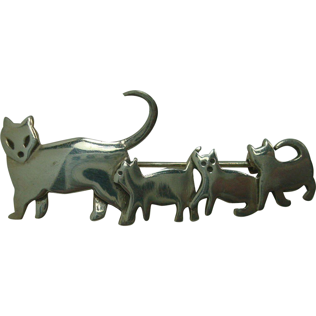 Sterling Cat Family Walking Pin or Brooch