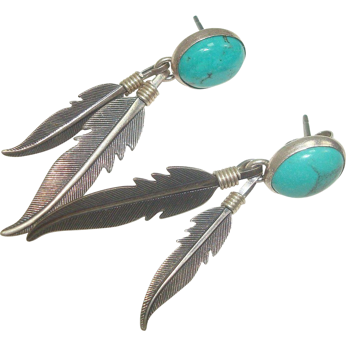 Navajo Sterling Turquoise Feather Earrings