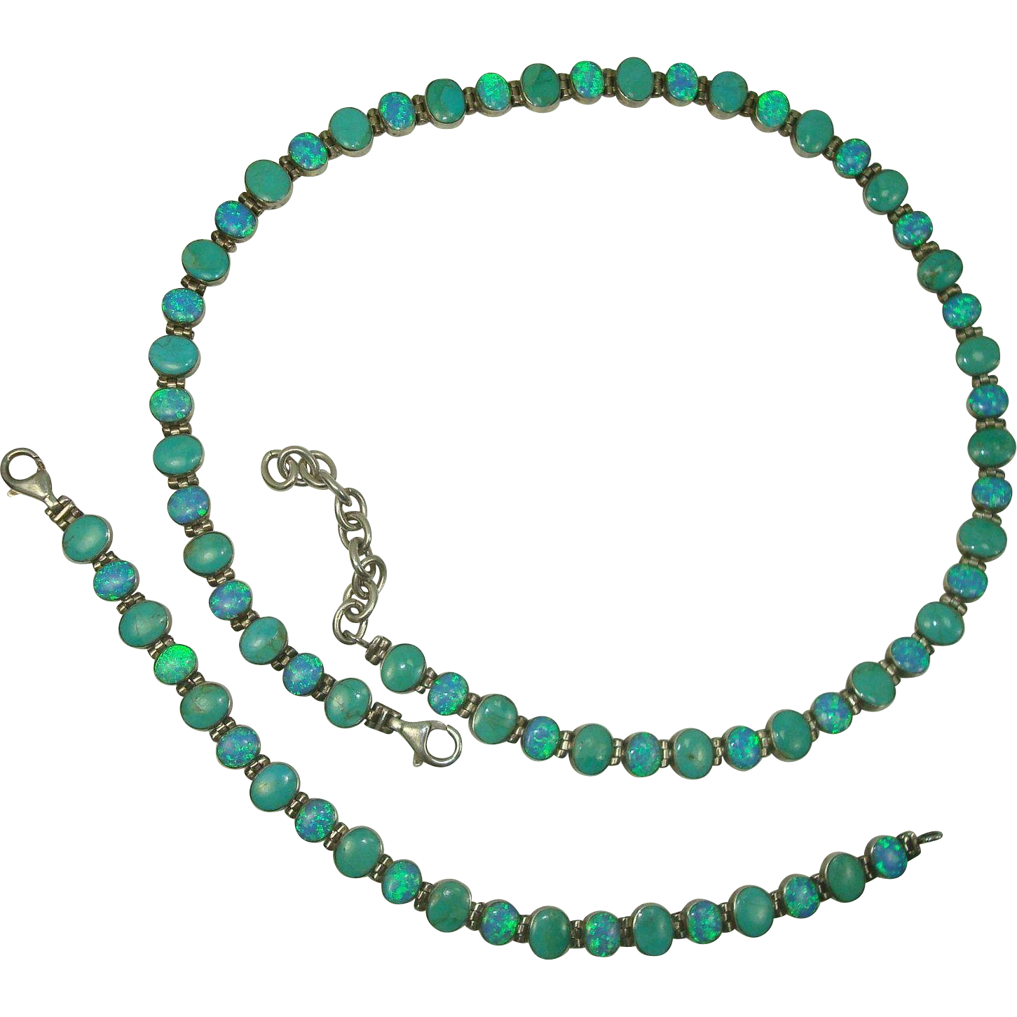 Southwest Sterling Turquoise and Opal Necklace and Bracelet Suite
