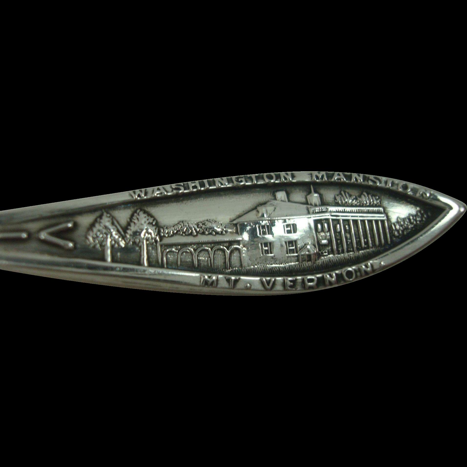Virginia Mt Vernon Washington Mansion Sterling Souvenir Demitasse Spoon