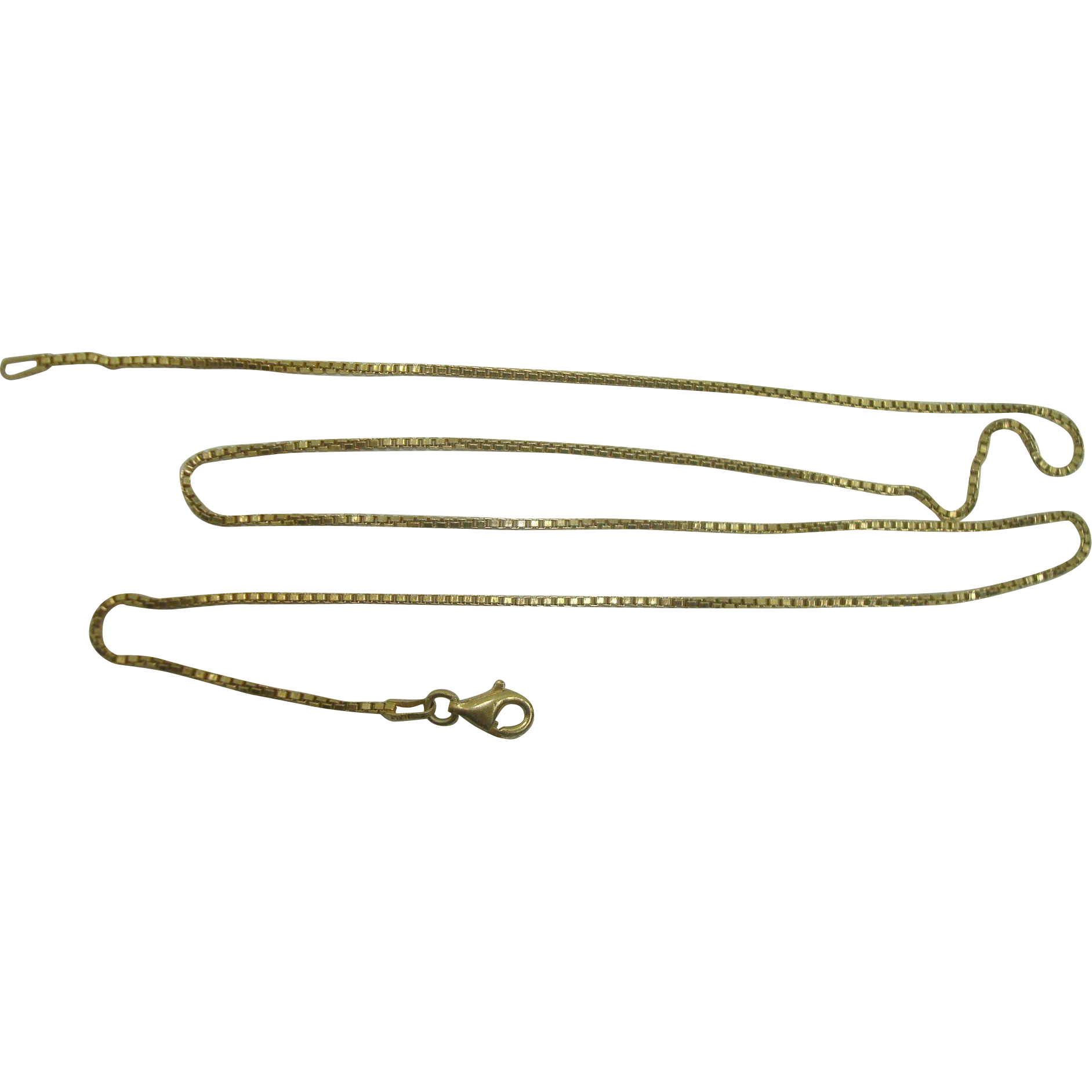 """Italian Vermeil Gold over Sterling Box Chain Necklace with Lobster Claw Clasp 20"""""""