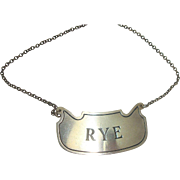 Apollo Sterling Rye Decanter Label