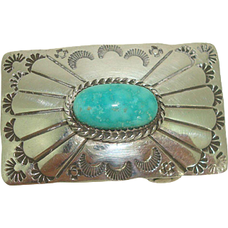 Native American Sterling Turquoise Belt Buckle