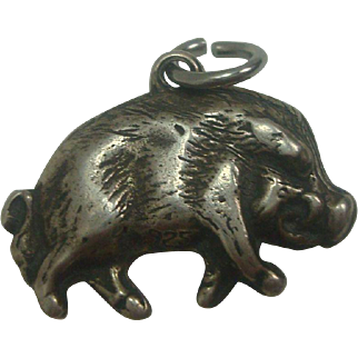 Sterling Pig Wild Boar Charm