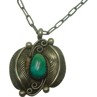 Sterling Turquoise and Feather Necklace
