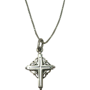 """Sterling Celtic Cross with 19"""" Italian Sterling Box Chain Necklace"""