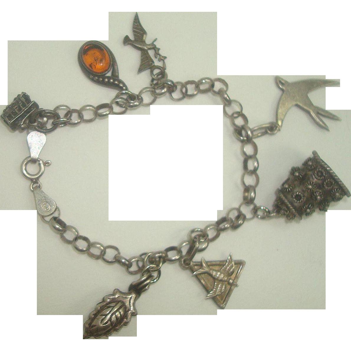Italian Sterling Rolo Link Bird Amber Charm Bracelet