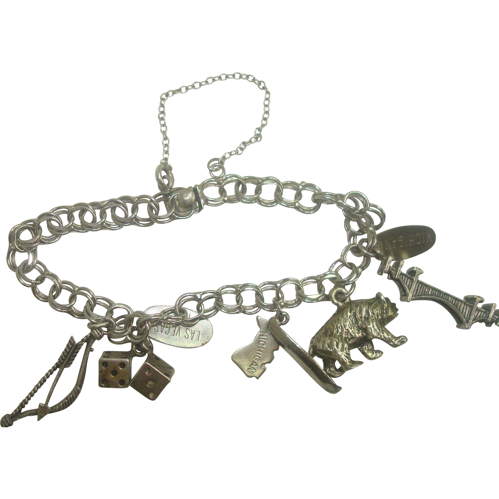 Sterling Double Link Charm Bracelet w/ 5 Travel Charms