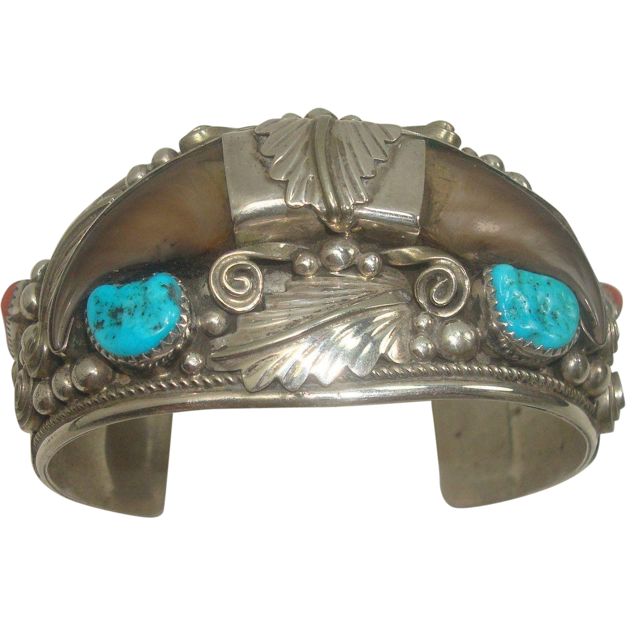 Signed Two Bear Claw Turquoise Coral Sterling Navajo Cuff Bracelet