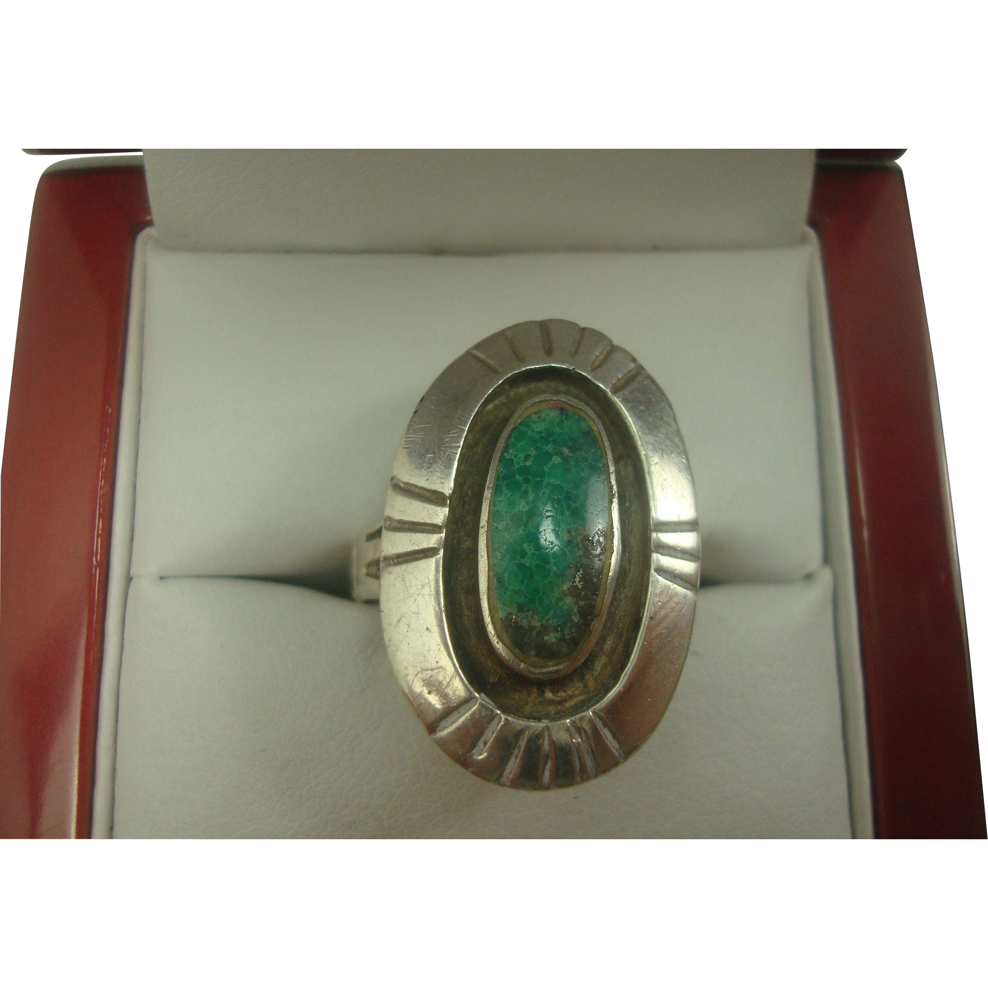 Turquoise Sterling Shadow Box Native American Ring