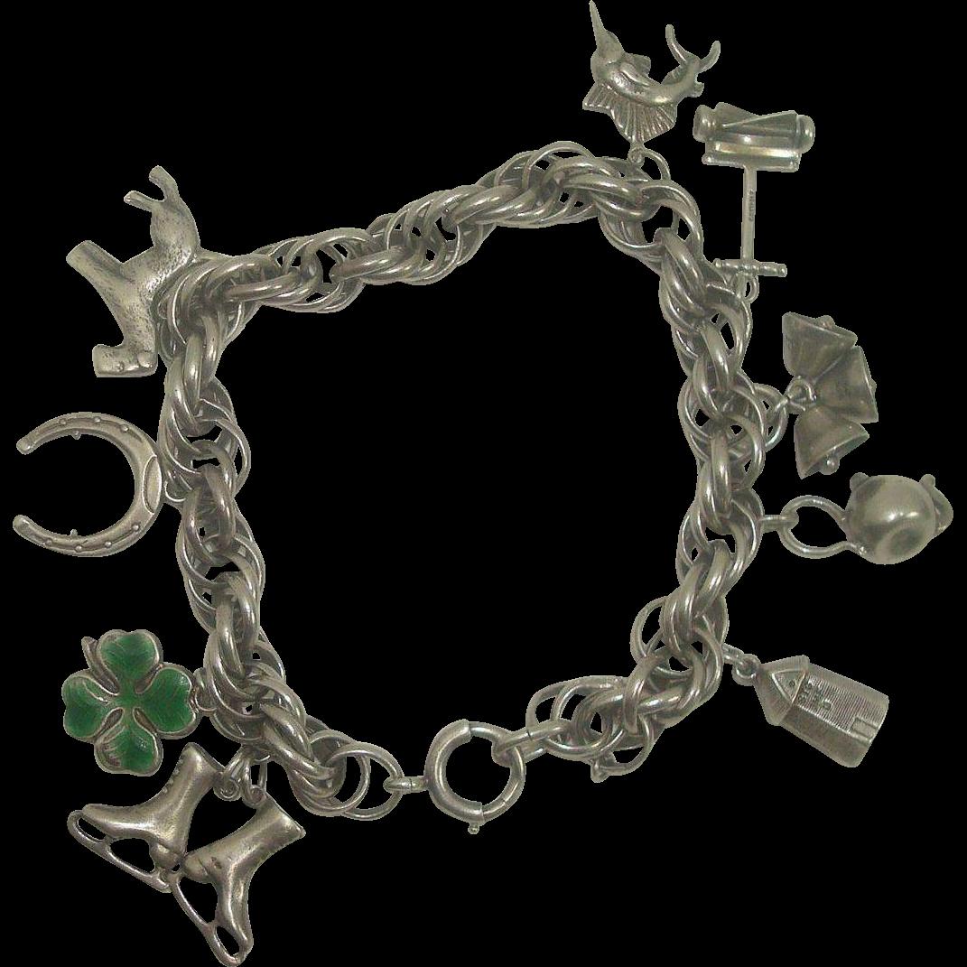 Very Nice Sterling Charm Bracelet w/ 9 Sterling Charms