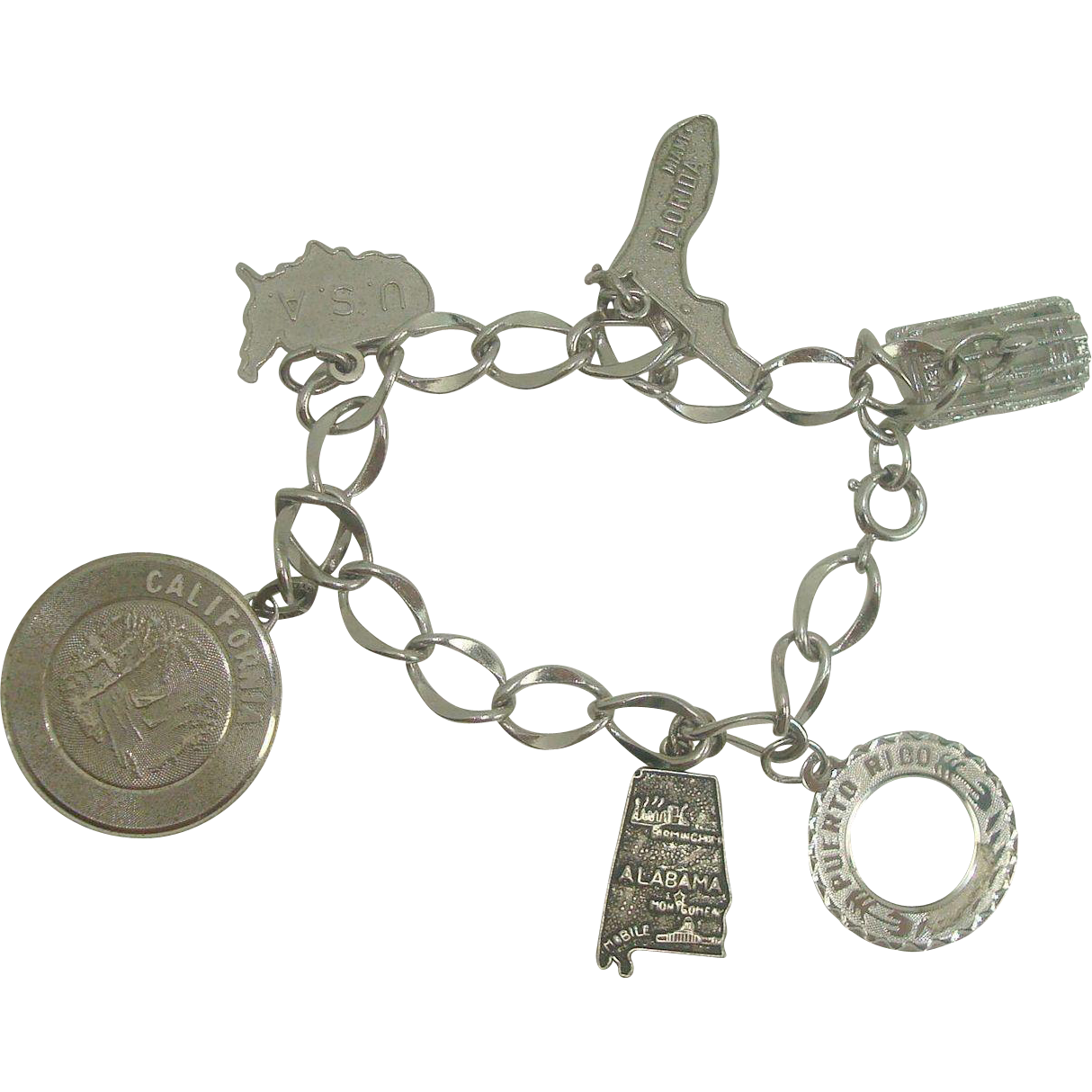 Sterling Curb Link Charm Bracelet with 6 Charms