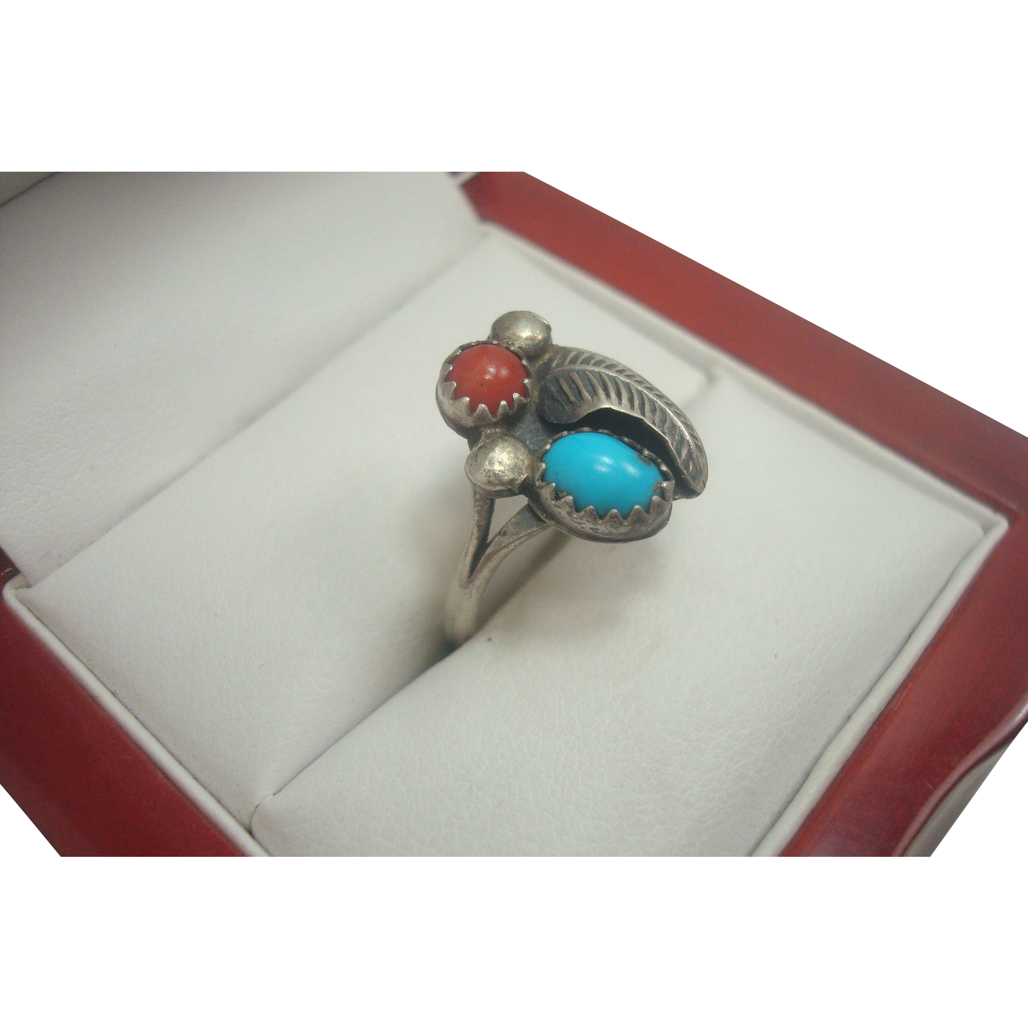 Cute Turquoise Coral Sterling Navajo Ring Size 6