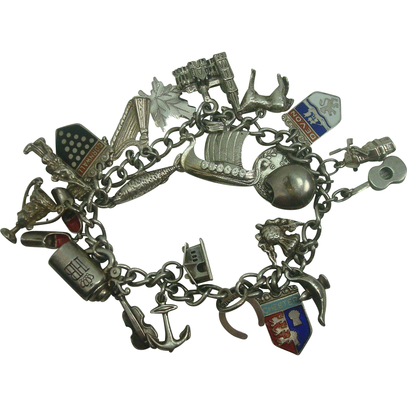 Loaded Sterling Travel Great Britain Charm Bracelet with 24 Charms