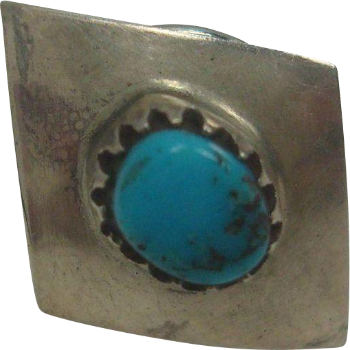 Native American Sterling Turquoise Tie Tack