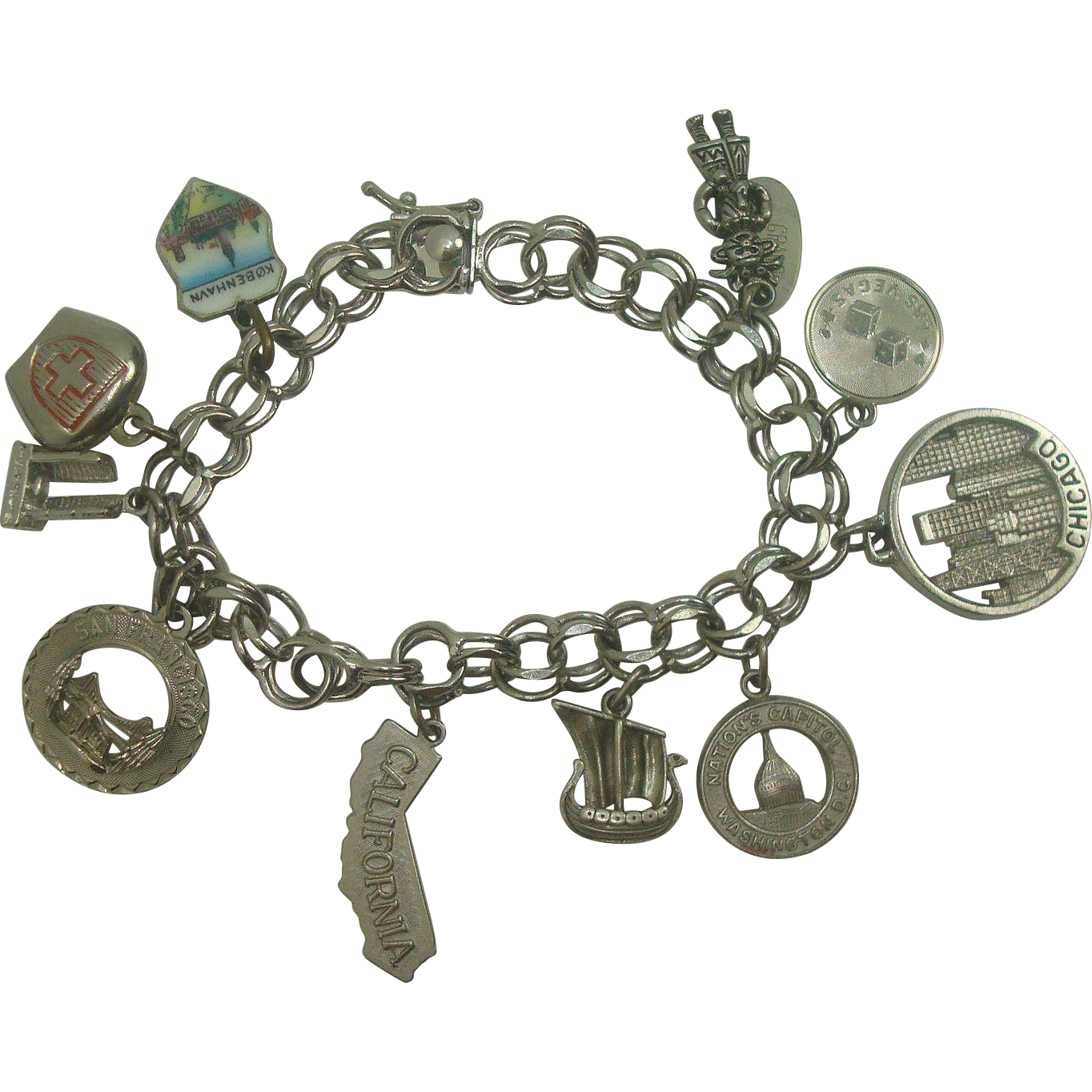"""7"""" Sterling Travel Charm Bracelet with 10 Charms"""