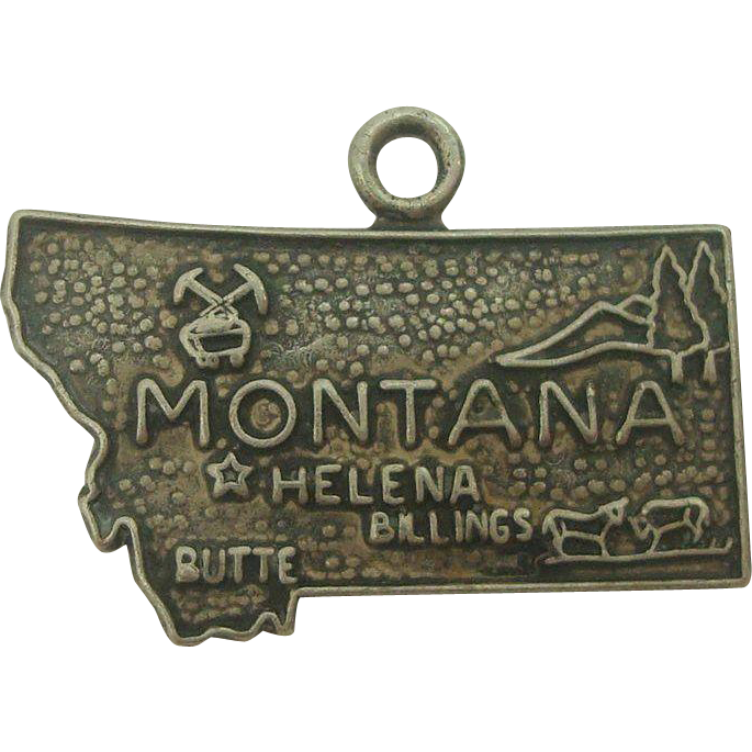 Vintage Sterling Montana State Charm