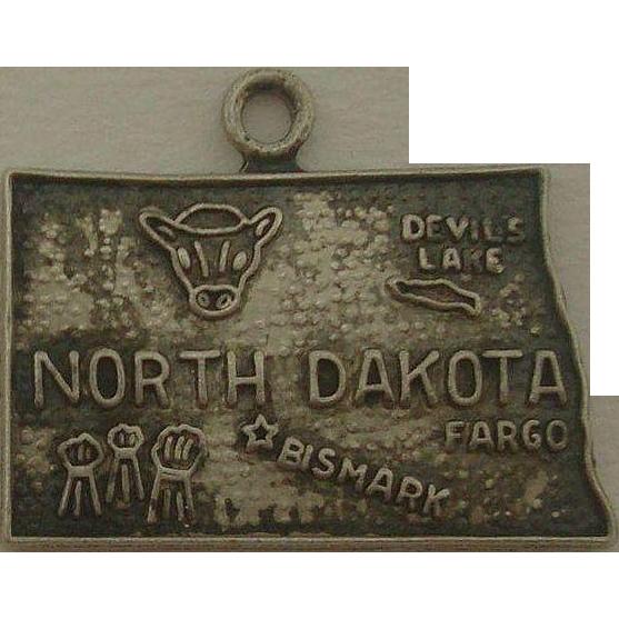 Vintage Sterling North Dakota State Map Charm