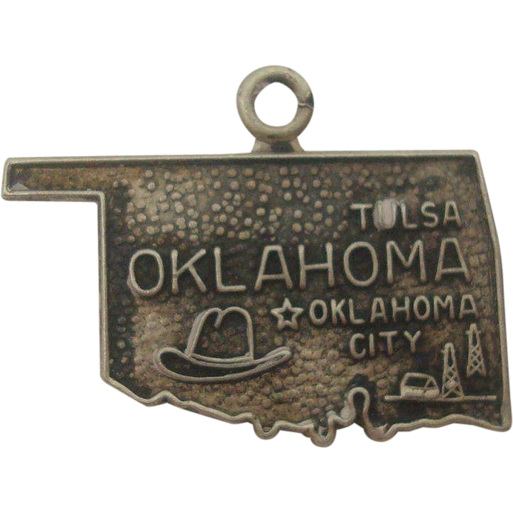 Vintage Oklahoma Sterling State Map Charm