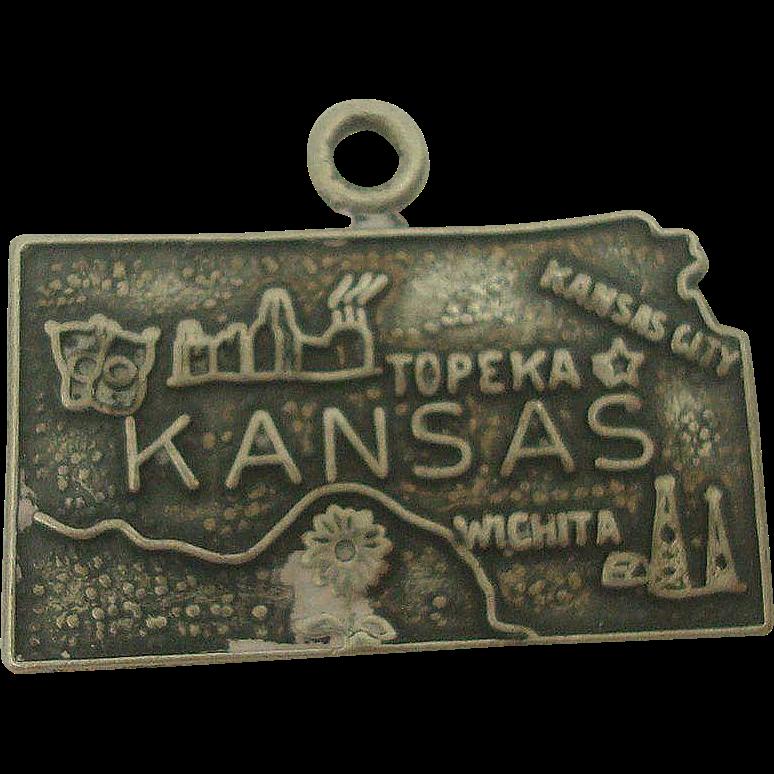 Vintage Kansas State Map Charm