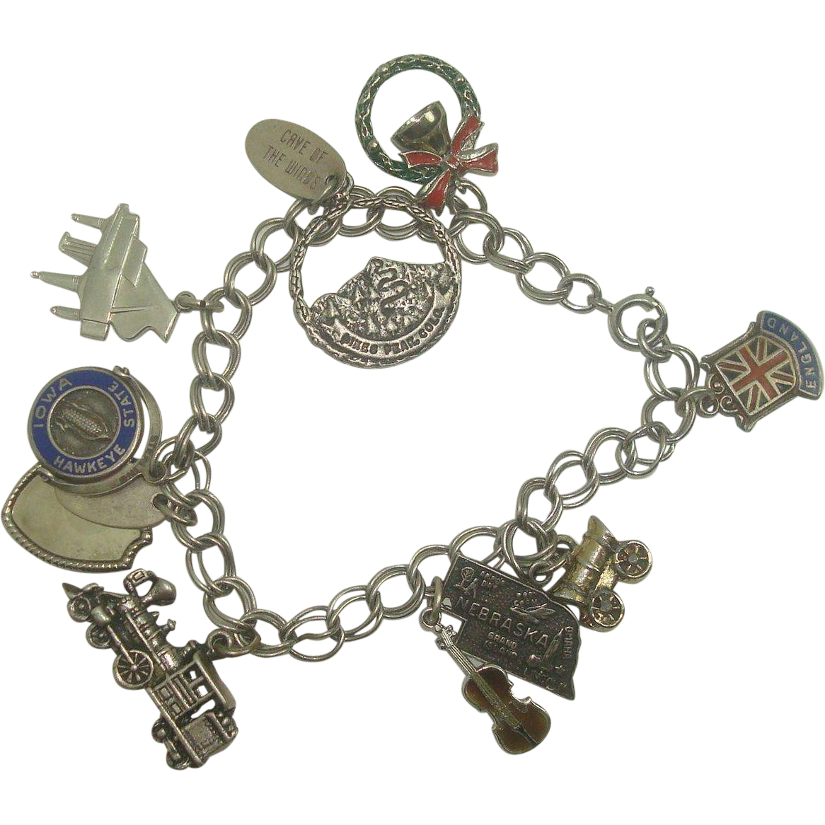 Sterling Charm Bracelet with 10 charms 7 1/4""