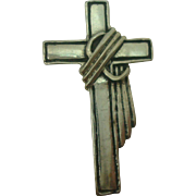 Sterling Draped Cross Pendant