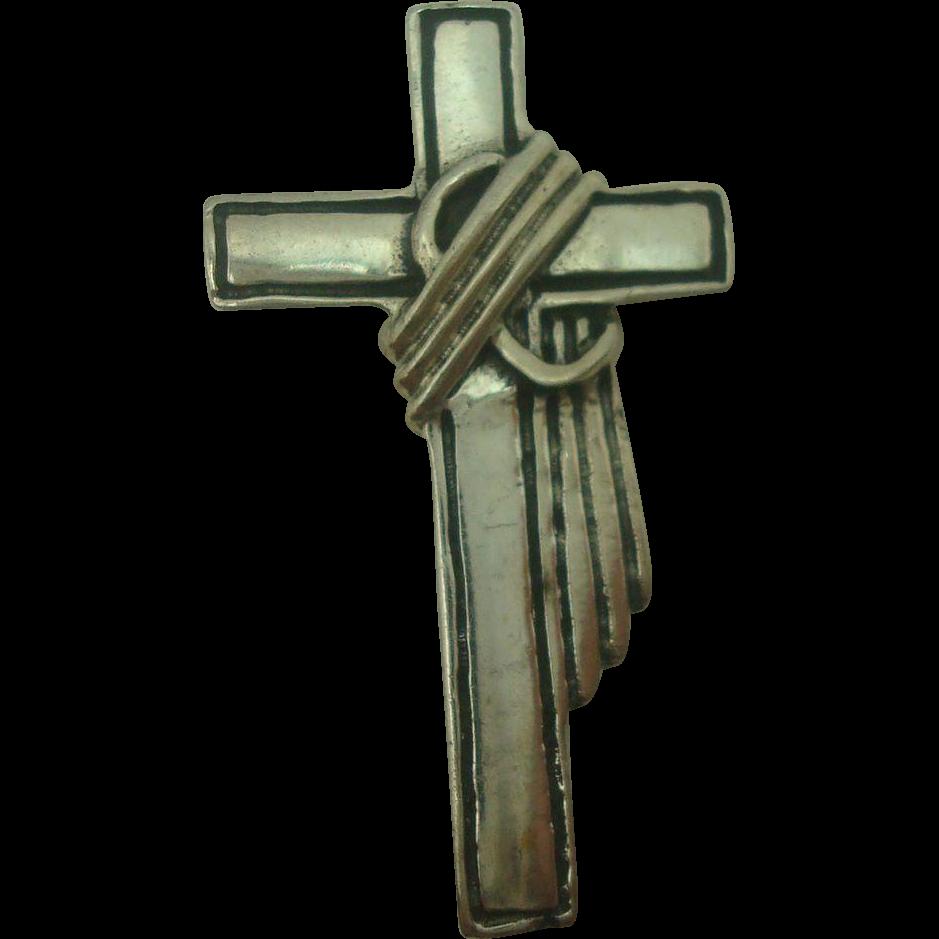 Sterling Draped Cross Pendant