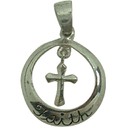 Sterling Circle Faith  with Cross Pendant