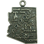 Vintage Arizona State Map Charm