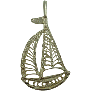Sterling Filagree Sailboat Pendant
