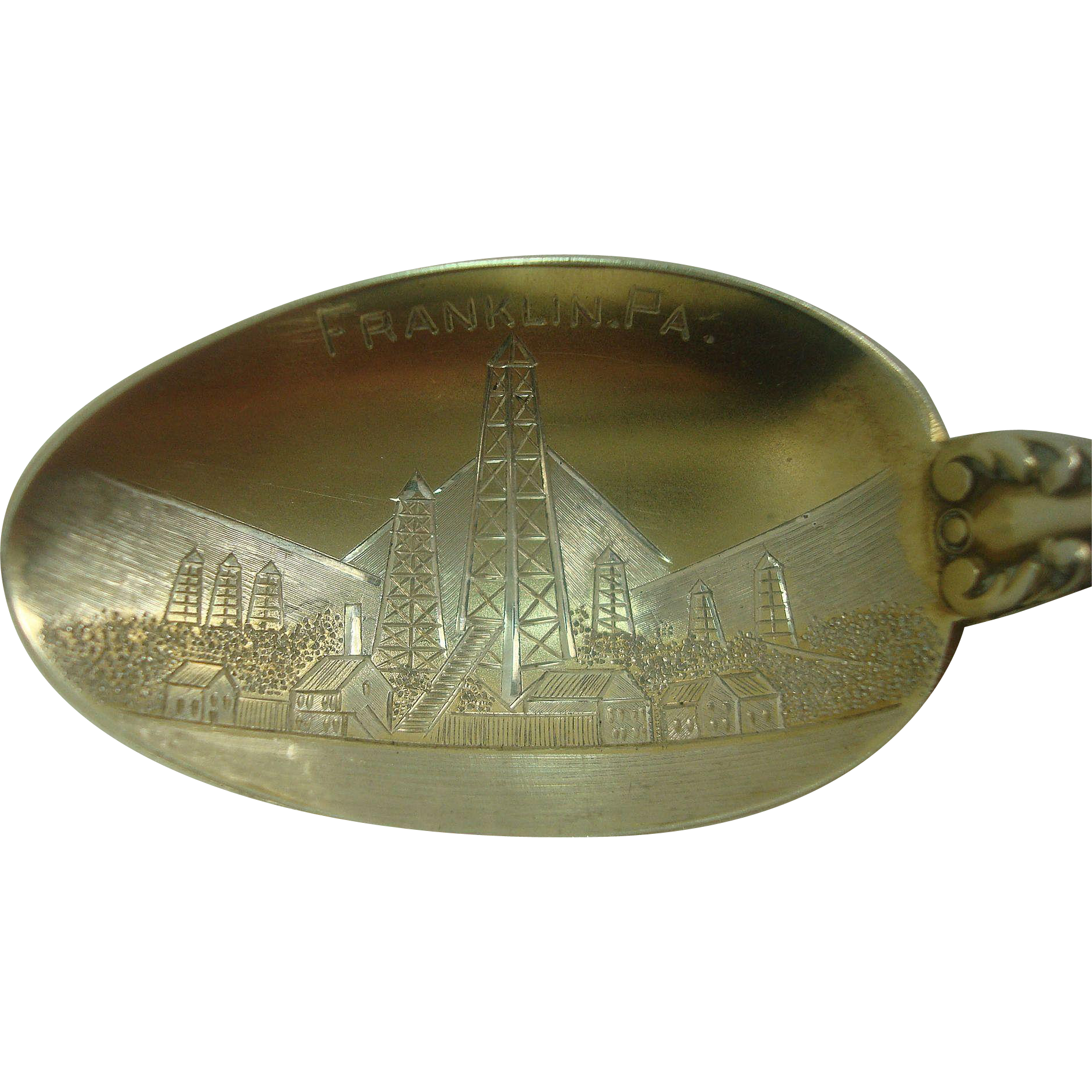 Oil Derricks Franklin Pennsylvania Sterling Souvenir Spoon