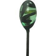 Silver Overlay Green Glass Hairpin