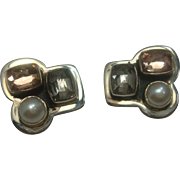 Amy Kahn Russell Pearl Gemstone Clip on Earrings