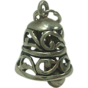 Mechanical Vintage Sterling Bell Charm