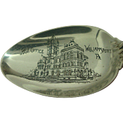 Williamsport Pennsylvania Post Office Whiting 1905 Lilly Souvenir Spoon