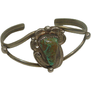 Signed Green Turquoise Navajo Cuff Bracelet