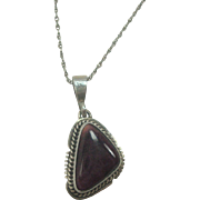 """Signed Navajo Purple Spiny Oyster Sterling Pendant Necklace 18"""""""