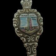 Radio City New York Enameled Souvenir Spoon