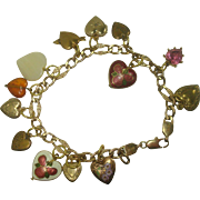 Vintage Gold Filled Heart Charm Bracelet