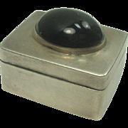 Mexico Black Onyx Sterling Pill Box