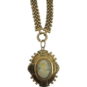 Victorian Cameo Necklace Locket with Woven Choker